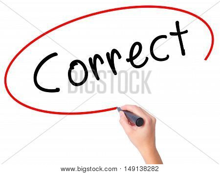 Women Hand Writing Correct With Black Marker On Visual Screen
