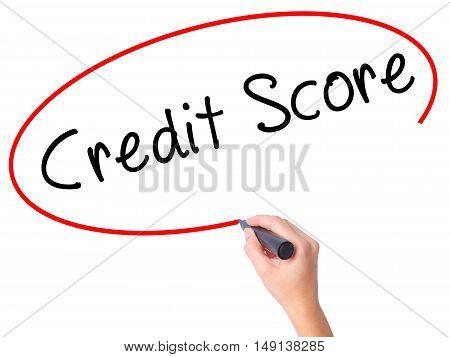 Women Hand Writing Credit Score Black Marker On Visual Screen