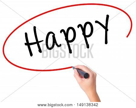 Women Hand Writing Happy Black Marker On Visual Screen