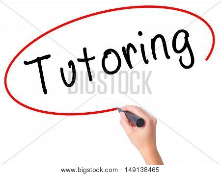 Women Hand Writing Tutoring With Black Marker On Visual Screen
