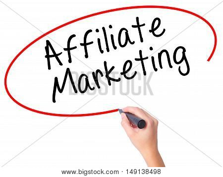 Women Hand Writing Affiliate Marketing With Black Marker On Visual Screen
