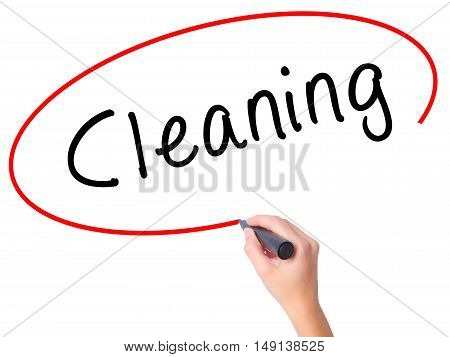 Women Hand Writing Cleaning With Black Marker On Visual Screen