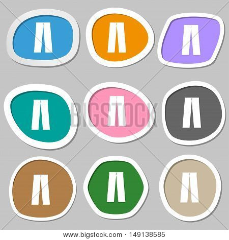 Pants Icon Symbols. Multicolored Paper Stickers. Vector