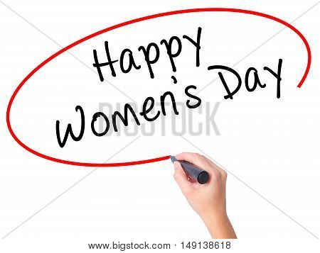 Women Hand Writing Happy Women's Day With Black Marker On Visual Screen