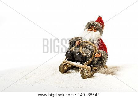 Santa Claus doll isolated on white background.