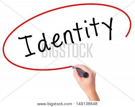 Women Hand Writing Identity With Black Marker On Visual Screen