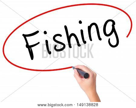 Women Hand Writing Fishing With Black Marker On Visual Screen