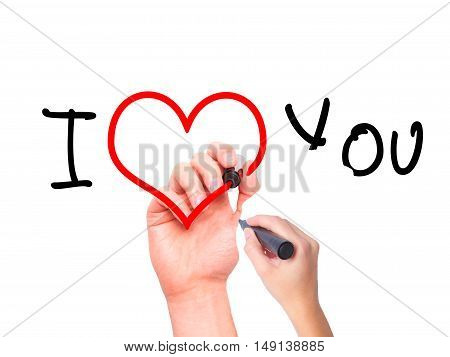 Women Hand Writing I Love You  With Black Marker On Visual Screen