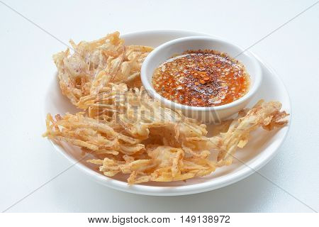 Fried taro chips and sauce, appetizer, Vegetarian Festival,