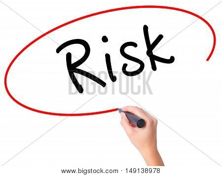 Women Hand Writing Risk With Black Marker On Visual Screen