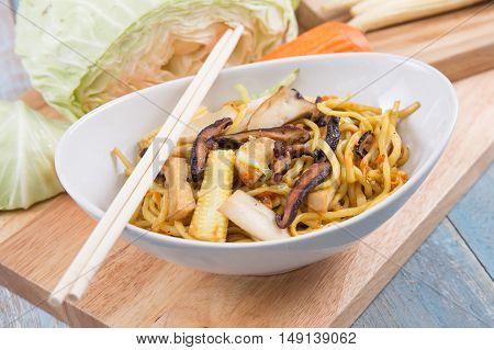 Bowl of vegetarian Noodle / cooking stir fry vegetarian noodle concept