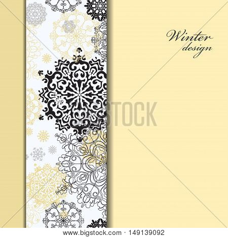 Winter abstract design with gold and white snowflakes and stars and black stripe and light gold background. Trend golden design. Vertical border stripe and text place. Silver vintage vector illustration.