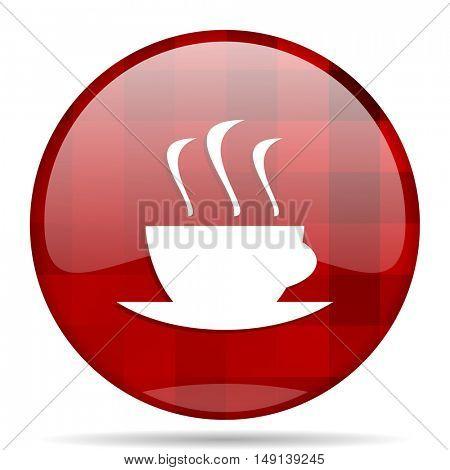 espresso red round glossy modern design web icon