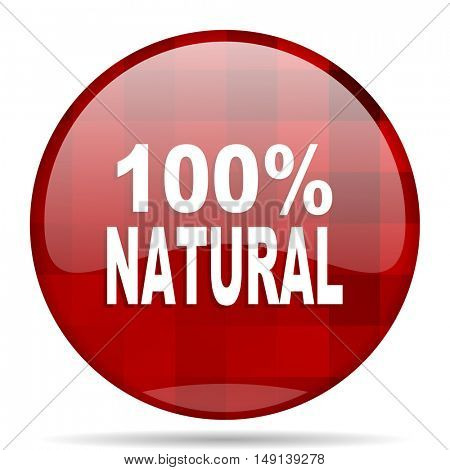 natural red round glossy modern design web icon