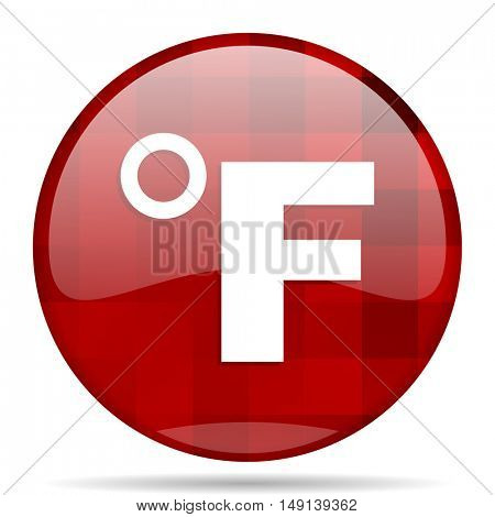 fahrenheit red round glossy modern design web icon