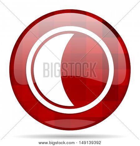 moon red round glossy modern design web icon