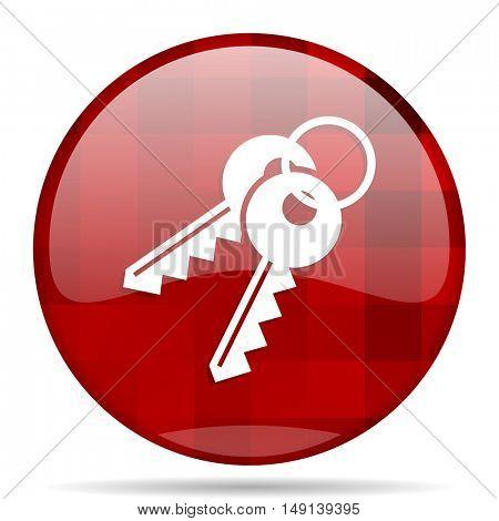 keys red round glossy modern design web icon