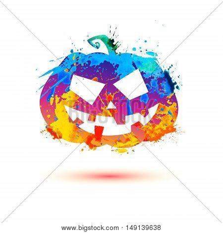 Halloween Pumpkin Of Splash Paint