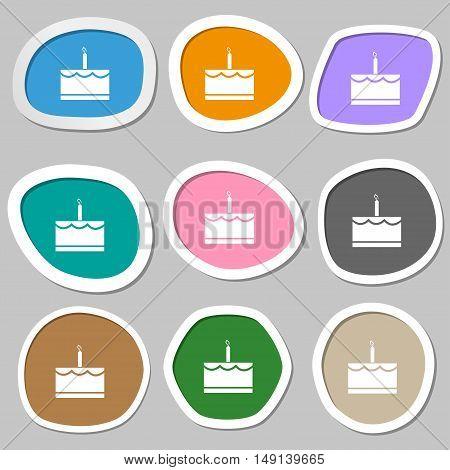 Birthday Cake Icon Symbols. Multicolored Paper Stickers. Vector
