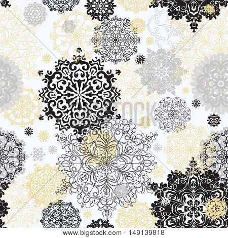 Seamless winter pattern with golden and black snowflakes and stars on white background Vintage light winter snowflake background. Vector illustration. Seamless snowfal background.