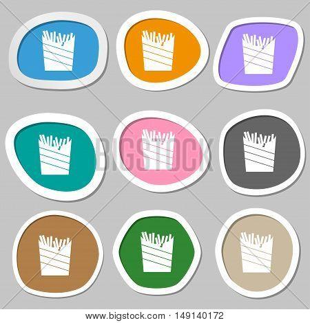 Fry Icon Symbols. Multicolored Paper Stickers. Vector