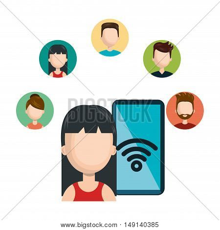 female avatar smartphone connected social network character vector illustration