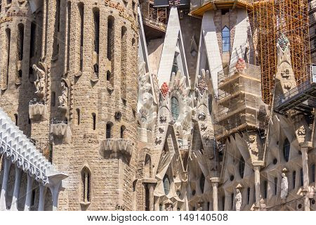 Barcelona Spain - August 17 2016: View on part of the Sagrada Familia.