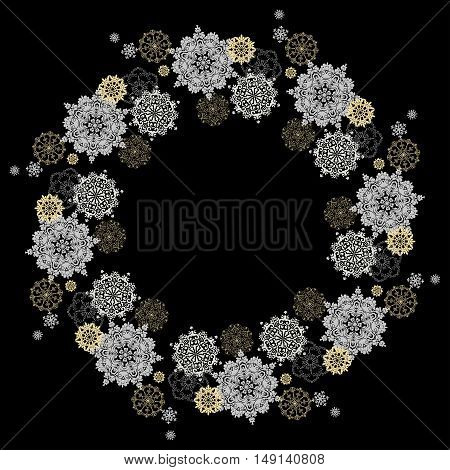 Winter silver circle wreath background with gold and white snowflakes and stars and black background. Round frame silver design. Vector illustration.