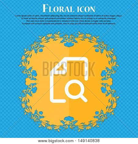 Search Documents Icon Sign. Floral Flat Design On A Blue Abstract Background With Place For Your Tex