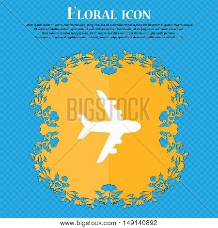 Plane Icon Sign. Floral Flat Design On A Blue Abstract Background With Place For Your Text. Vector