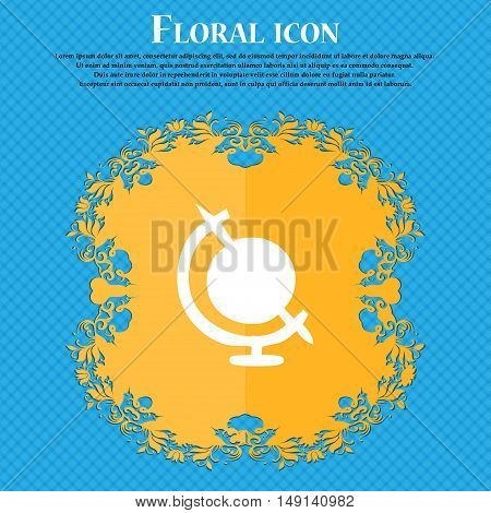 Icon World Sign. Floral Flat Design On A Blue Abstract Background With Place For Your Text. Vector