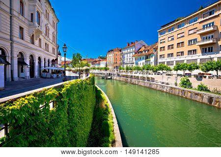 Green Ljubljanica riverfront in Ljubljana capital of Slovenia