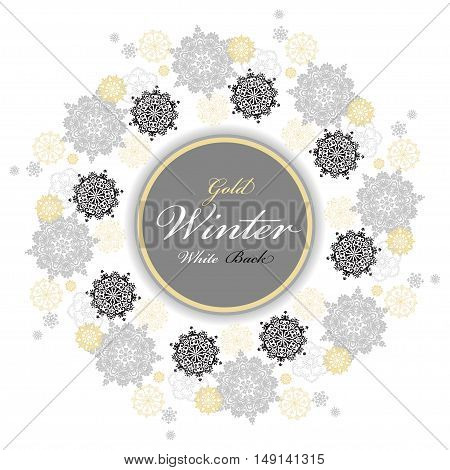 Winter silver circle wreath background with gold and white snowflakes and stars and light background and label with text plase. Round frame silver design. Vector illustration.