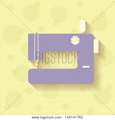 Violet sewing machine on the yellow background with circles