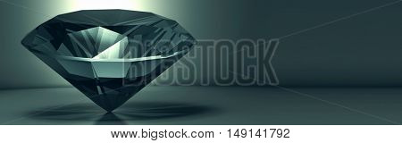3D rendering shining crystal diamond on a blue background