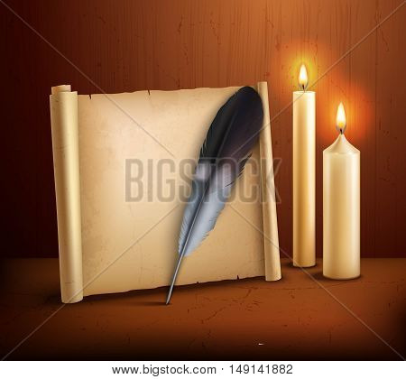 Parchment paper with feather and burning candles realistic aged style poster with wooden background vector illustration