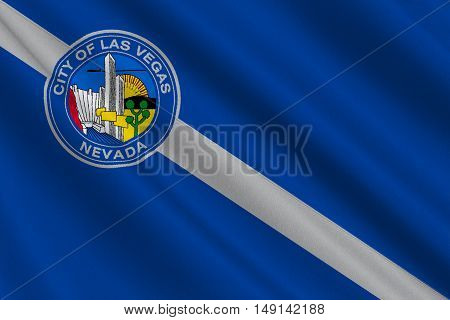 Flag of Las Vegas City of Nevada state United States. 3D illustration