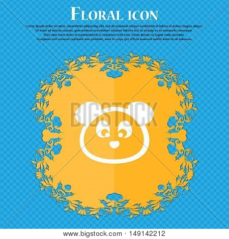 Teddy Bear Icon Sign. Floral Flat Design On A Blue Abstract Background With Place For Your Text. Vec