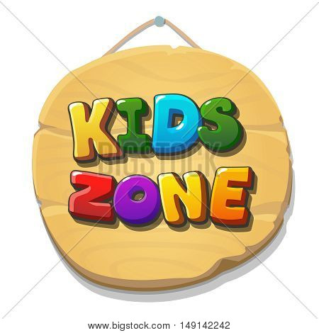 Kids Zone sign or banner. Children playground zone. Children Place label. banner for web or print. illustration isolated.