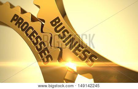 Business Processes on the Mechanism of Golden Metallic Cogwheels. 3D.