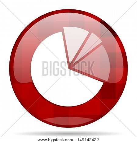 diagram red round glossy modern design web icon