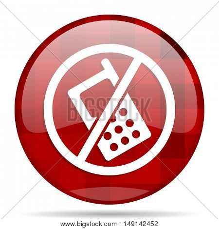 no phone red round glossy modern design web icon