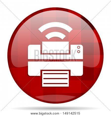 printer red round glossy modern design web icon