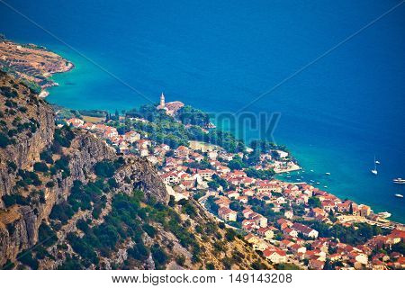 Town of Bol from Vidova Gora aerial view Island of Brac Dalmatia Croatia