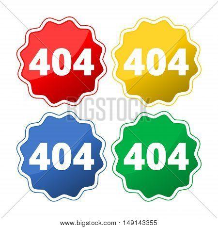 404 Not found error sign set on white background
