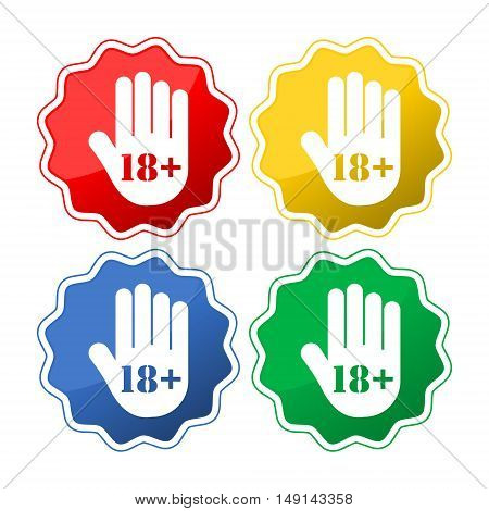 Age limit button, Stop hand icon set on white background