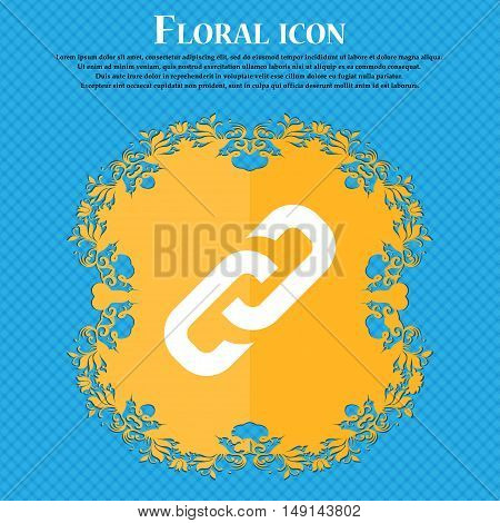 Link Icon Sign. Floral Flat Design On A Blue Abstract Background With Place For Your Text. Vector