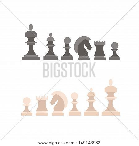 Chess Pieces Set. Figures Black and White. Flat Design Style. Vector illustration
