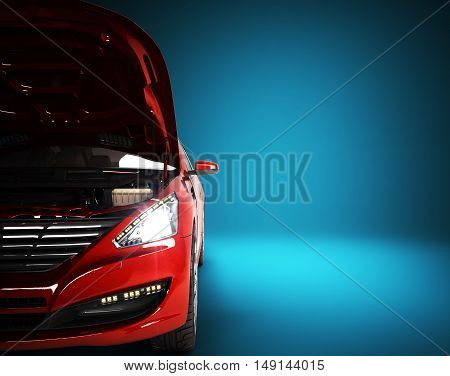 Open Hood Of A Car With View Of The Engine 3D Render On Blue