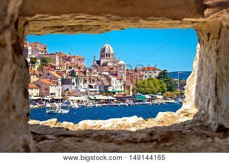 Sibenik waterfront through stone window view Dalmatia Croatia